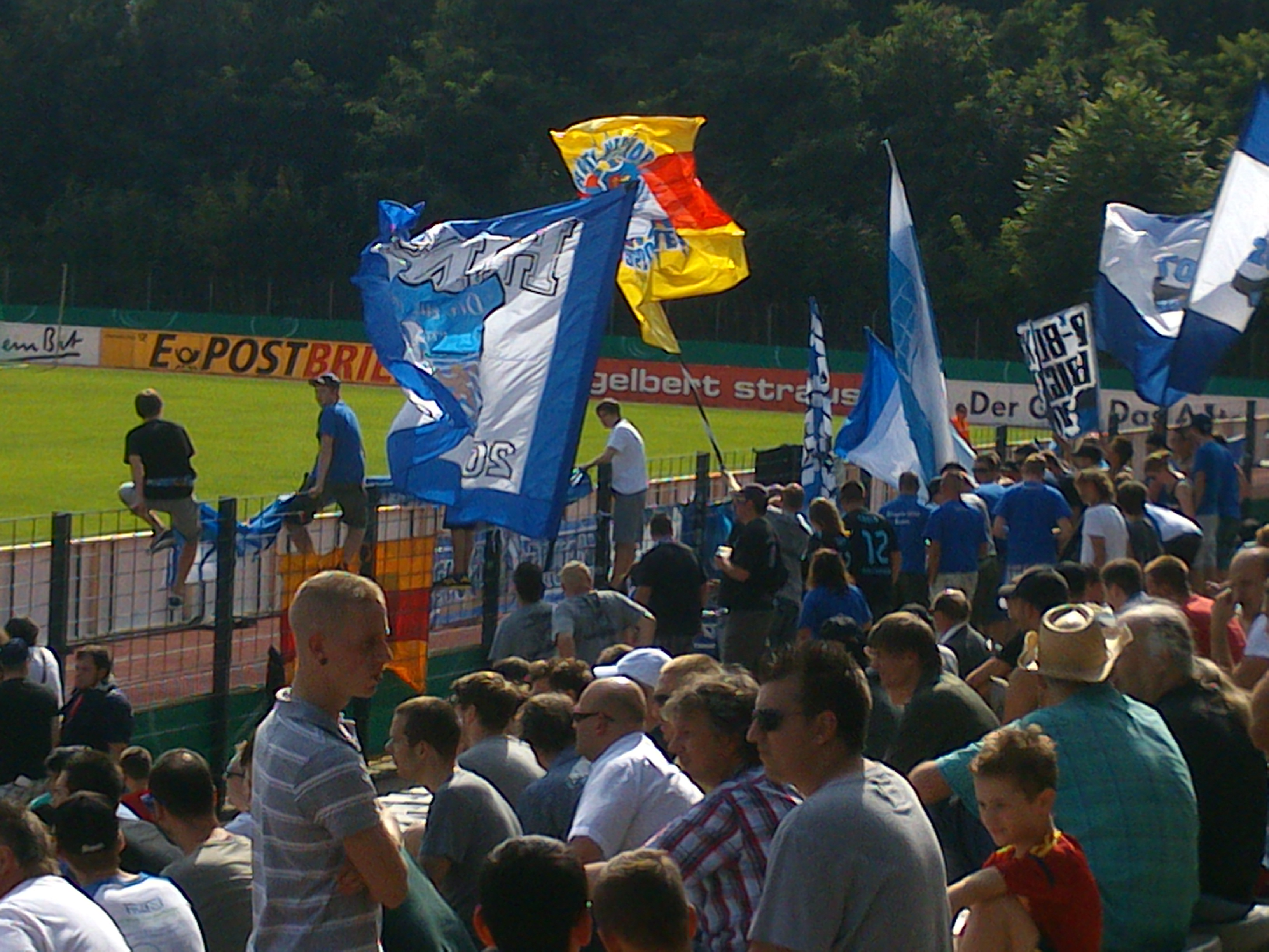 Hoffenheim fans before kick-off. Yesterday. The day before today.